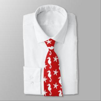 Seahorse & starfish - dark coral red and white tie