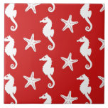Seahorse & starfish - dark coral red and white tiles