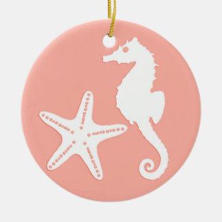 Seahorse & starfish - Light Coral Pink Ceramic Ornament