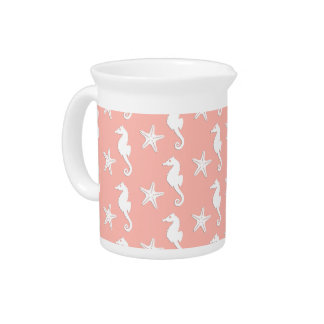 Seahorse & starfish - Light Coral Pink Drink Pitcher
