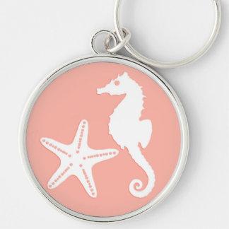 Seahorse & starfish - Light Coral Pink Keychain