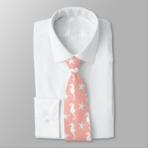 Seahorse & starfish - Light Coral Pink Neck Tie
