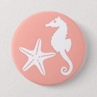 Seahorse & starfish - Light Coral Pink Pinback Button