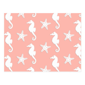 Seahorse & starfish - Light Coral Pink Postcard