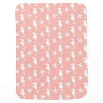 Seahorse & starfish - Light Coral Pink Stroller Blanket