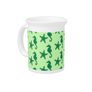 Seahorse & starfish - lime and emerald green beverage pitcher