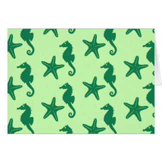Seahorse & starfish - lime and emerald green stationery note card