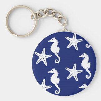 Seahorse & starfish - navy blue and white basic round button keychain