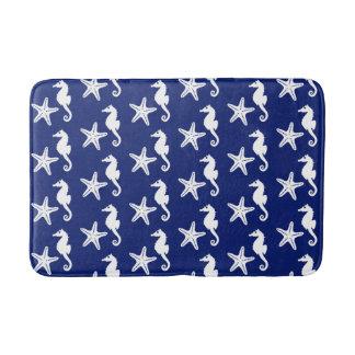 Seahorse & starfish - navy blue and white bathroom mat