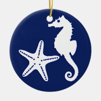 Seahorse & starfish - navy blue and white ceramic ornament