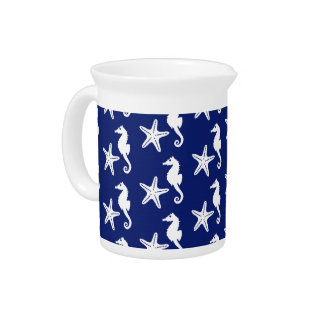 Seahorse & starfish - navy blue and white drink pitcher