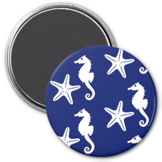 Seahorse & starfish - navy blue and white magnet