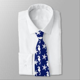 Seahorse & starfish - navy blue and white neck tie