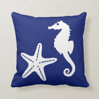 Seahorse & starfish - navy blue and white pillow