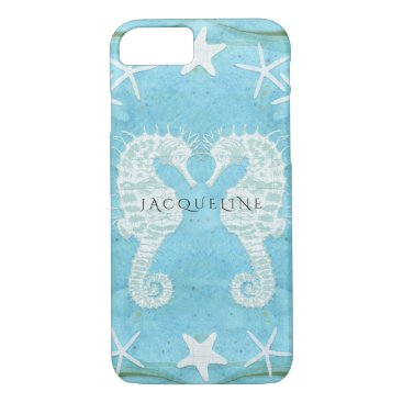Beach Themed Seahorse Starfish Ocean Beach Sea Watercolor Blue iPhone 7 Case