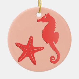 Seahorse & starfish - shades of coral orange ceramic ornament