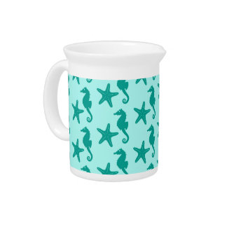 Seahorse & starfish - turquoise and aqua beverage pitcher