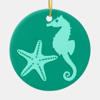 Seahorse & starfish - turquoise and aqua ceramic ornament
