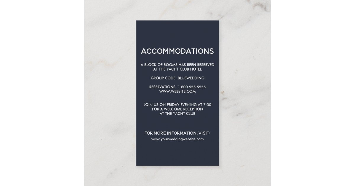 Seahorse Starfish Wedding Hotel Accommodation Enclosure Card