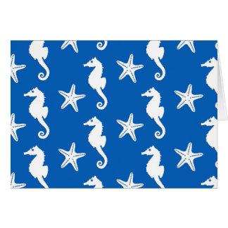 Seahorse & starfish - white on cobalt blue card