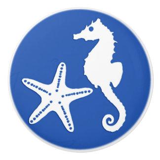 Seahorse & starfish - white on cobalt blue ceramic knob