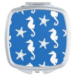 Seahorse & starfish - white on cobalt blue compact mirror
