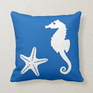 Seahorse & starfish - white on cobalt blue throw pillows