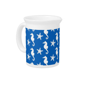 Seahorse & starfish - white on cobalt blue pitcher