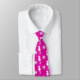 Seahorse & starfish - white on fuchsia pink neck tie