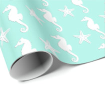 Seahorse & starfish - white on pale aqua wrapping paper
