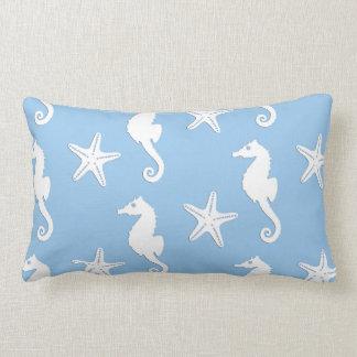 Seahorse & starfish - white on pale blue throw pillows
