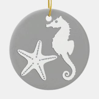 Seahorse & starfish - white on silver grey ceramic ornament