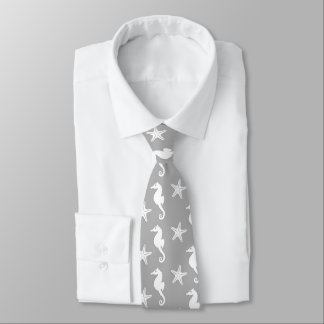 Seahorse & starfish - white on silver grey neck tie