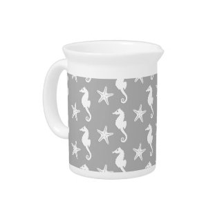 Seahorse & starfish - white on silver grey pitcher