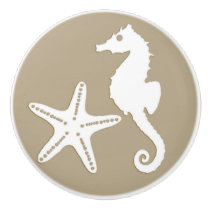 Seahorse & starfish - white on taupe tan ceramic knob
