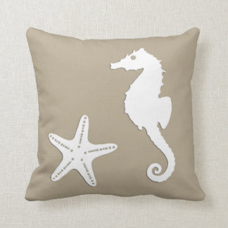 Seahorse & starfish - white on taupe tan throw pillow