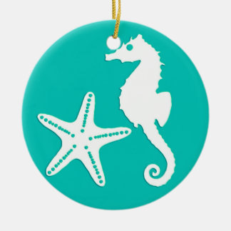 Seahorse & starfish - white on turquoise ceramic ornament