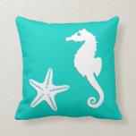 Seahorse & starfish - white on turquoise pillows