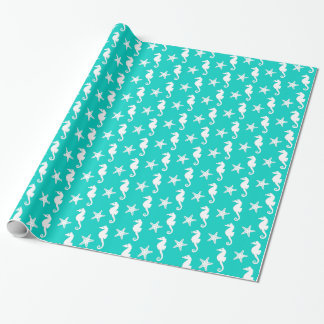 Seahorse & starfish - white on turquoise wrapping paper