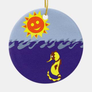 Seahorse, Sun and Sea Whimsical Cartoon Art Ceramic Ornament