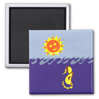 Seahorse, Sun and Sea Whimsical Cartoon Art Refrigerator Magnets