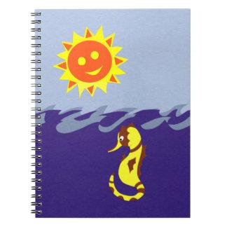 Seahorse, Sun and Sea Whimsical Cartoon Art Spiral Notebooks