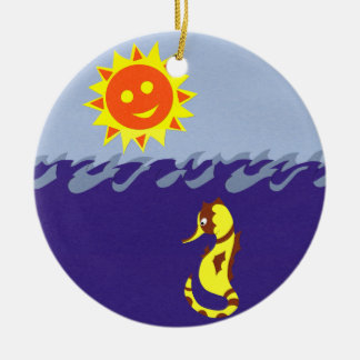 Seahorse Sun and Sea Whimsical Cartoon Art Christmas Tree Ornament