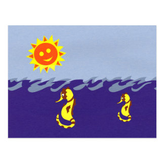 Seahorse Sun and Sea Whimsical Cartoon Art Postcards