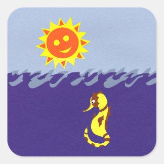 Seahorse, Sun and Sea Whimsical Cartoon Art Square Sticker