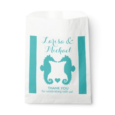 Beach Themed Seahorse Sweethearts CHANGE BACKGROUND COLOR Favor Bag