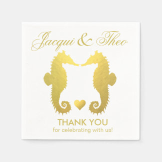 Seahorse Sweethearts Faux Gold Foil Party Standard Cocktail Napkin