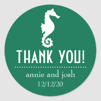 Seahorse Thank You Labels (Green) Classic Round Sticker