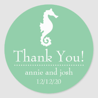 Seahorse Thank You Labels (Mint Green) Classic Round Sticker