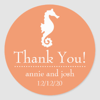 Seahorse Thank You Labels (Orange) Stickers